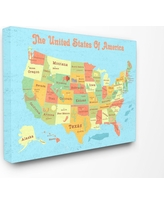 """Stupell Industries 24 in. x 30 in. """"United States of America USA Kids Map"""" by Daphne Polselli Printed Canvas Wall Art, Multi-Colored"""