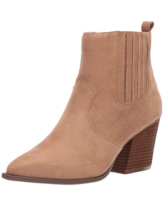 The Drop Women's Sia Pointed Toe Western Ankle Boot, Sand, 6