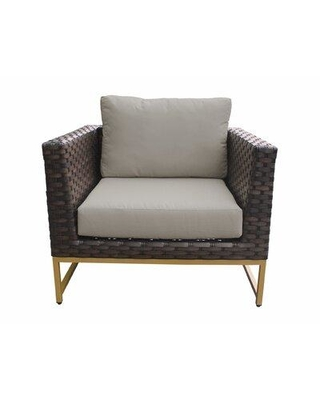 Wrought Studio Sumpter Patio Chair with Cushions SBQH5089 Color: Beige Frame Color: Gold