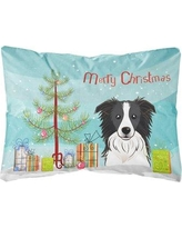 The Holiday Aisle Keper Christmas Tree and Border Collie Fabric Indoor/Outdoor Throw Pillow BF148810