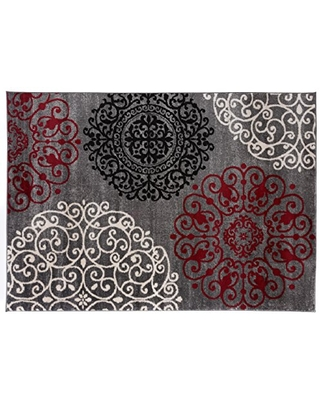 Contemporary Modern Floral Indoor Soft Area Rug 2' x 3' Red
