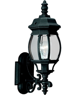 Sea Gull Lighting Wynfield 19.75 in. H 1-Light Black Outdoor 19.75 in. Wall Lantern Sconce with Clear Beveled Glass