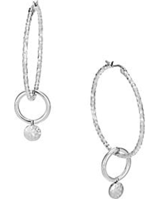 John Hardy Dot Collection Sterling Silver Drop Hoop Earrings - Silver