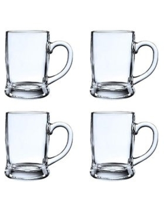 Heavy Base Beer Mugs, Fun Party Entertainment Beverage Drinking Glassware 13 oz Crystal Style Glass Lead (Pb) Free (4 Piece)
