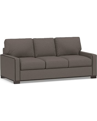 "Turner Square Arm Upholstered Sofa 84"" with Bronze Nailheads, Down Blend Wrapped Cushions, Performance Brushed Basketweave Charcoal"