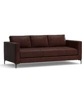 """Jake Leather Sofa 85"""", Polyester Wrapped Cushions, Leather Statesville Espresso"""