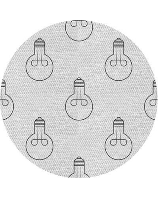 East Urban Home Round Abstract Wool Gray Area Rug X113624873 Rug Size: Round 4'