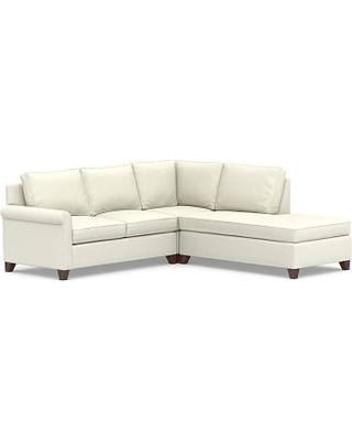 Cameron Roll Arm Upholstered Left 3-Piece Bumper Sectional, Polyester Wrapped Cushions, Performance Slub Cotton Ivory