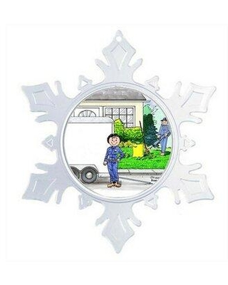 The Holiday Aisle® Personalized Friendly Folks Cartoon Snowflake Landscaper Christmas Holiday Shaped Ornament X111396669