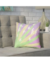 """Brayden Studio Enciso Birds and Sun 100% Cotton Pillow Cover BYST7149 Size: 14"""" H x 14"""" W, Color: Green/Yellow/Purple"""