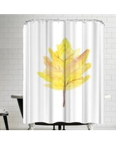 East Urban Home Jetty Printables Watercolor Yellow Leaf Shower Curtain URBR5500
