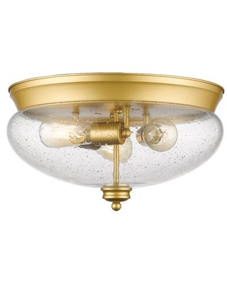 Casselman 3-Light Flush Mount Darby Home Co Finish: Satin Gold, Shade Color: Seeded