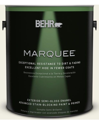 BEHR MARQUEE 1 gal. #PPU10-13 Snowy Pine Semi-Gloss Enamel Exterior Paint and Primer in One
