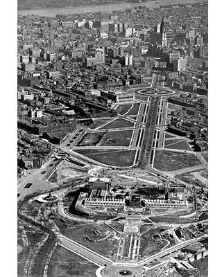 "Buyenlarge 'Aerial of the Art Museum Construction Philadelphia PA' Photographic Print 0-587-00747-8 Size: 66"" H x 44"" W x 1.5"" D"