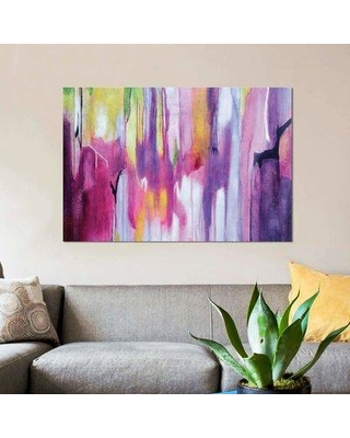 """East Urban Home 'Explosion Magenta II' Graphic Art Print on Canvas EBHS3052 Size: 12"""" H x 18"""" W x 1.5"""" D"""