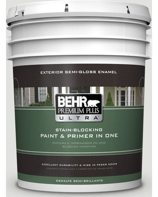 BEHR ULTRA 5 gal. #BL-W13 Silver Polish Semi-Gloss Enamel Exterior Paint and Primer in One