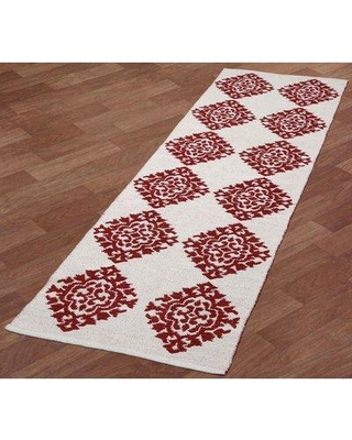 """St. Croix Jacquard Handwoven Cotton Red/White Rug QSC1827 Rug Size: Runner 2'6"""" x 12'"""