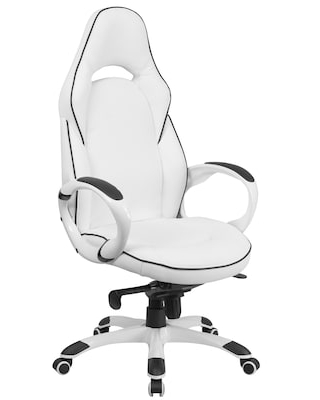 Flash Furniture CHCX0496H01 High Back White Vinyl Executive Swivel Office Chair with Black Trim   Quill