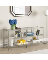 """""""Winthrop 55"""" Satin Nickel TV Stand with Glass Shelves - Hudson & Canal TV0632"""""""
