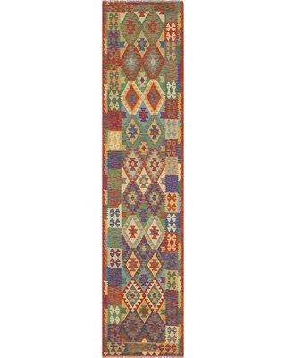 """One-of-a-Kind Ceporah Hand-Knotted 1990s 2'10"""" x 13'2"""" Runner WoolArea Rug inRust/Blue"""