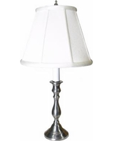 Pewter White Shade Candlestick Table Lamp