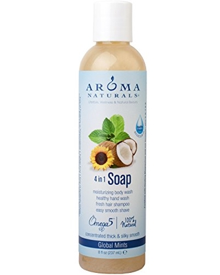 Aroma Naturals Extraordinary Natural 4-in-1 Castile Liquid Soap, Global Mints, 8 Ounce
