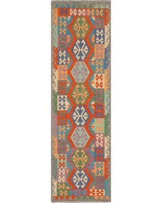 """One-of-a-Kind Ceporah Hand-Knotted 1990s 2'9"""" x 9'9"""" Runner WoolArea Rug inBlue/Gray"""