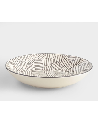 Charcoal and Ivory Alvaro Serving Bowl: Gray - Earthenware by World Market