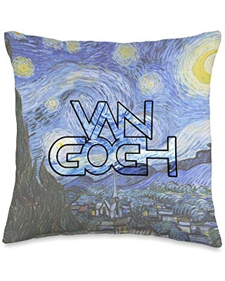 Vincent Van Gogh Paintings Merch Van Gogh The Starry Night Couch Throw Pillow, 16x16, Multicolor