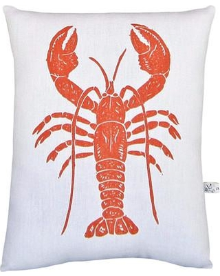 Artgoodies Lobster Block Print Squillow Accent Cotton Throw Pillow WSSP-LobsterSQ