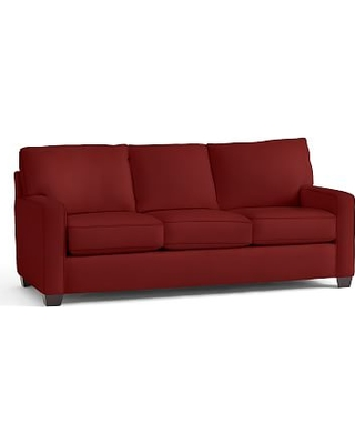 Buchanan Square Arm Upholstered Deluxe Sleeper Sofa, Polyester Wrapped Cushions, Twill Sierra Red
