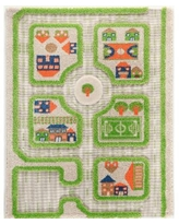 """Ivi Traffic 3D Childrens Play Mat & Rug in A Colorful Town Design with Soccer Field, Car Park & Roads - 90""""L x 63""""W - Green"""