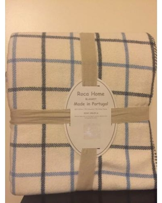 3a74891c72 Roca Home Full Queen Blanket Ivory - Navy  amp  Blue Plaid Made In Portugal