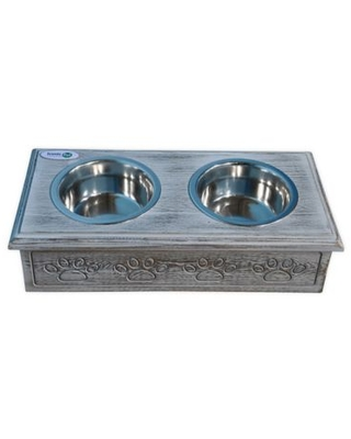 Iconic Pet Wooden Paws Double Diner Small Pet Feeder With Bowls In Grey