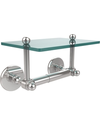Allied Brass Prestige Skyline Collection Double Post Toilet Paper Holder with Glass Shelf in Polished Chrome