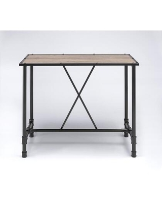 BM186891 Industrial Style Rectangular Metal Bar Table With Wooden Top Black and