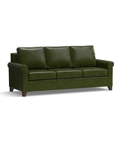 "Cameron Roll Arm Leather Sofa 90.5"", Polyester Wrapped Cushions, Leather Legacy Forest Green"