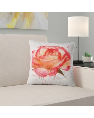 "Floral Rose Hand Drawn with Splashes Pillow East Urban Home Size: 16"" x 16"", Product Type: Throw Pillow"