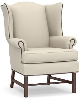 Thatcher Upholstered Armchair, Polyester Wrapped Cushions, Performance Brushed Basketweave Ivory