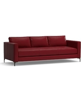 """Jake Leather Grand Sofa 95"""", Down Blend Wrapped Cushions, Leather Signature Berry Red"""