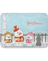 The Holiday Aisle Merry Christmas Carolers Poodle Memory Foam Bath Rug THLA5325 Color: Silver