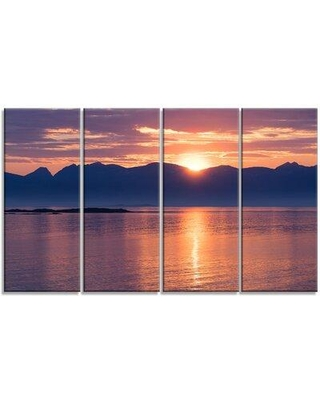 Design Art 'Norwegian Seashore at Sunset' 4 Piece Wrapped Canvas Photographic Print on Canvas Set PT11462-271