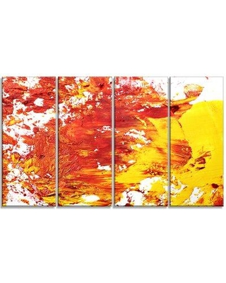 """Design Art Textured Abstract 4 Piece Painting Print on Wrapped Canvas Set, Canvas & Fabric in Red/Brown/Yellow, Size Medium 25""""-32"""" 