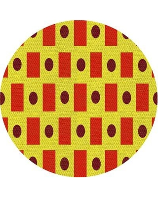East Urban Home Geometric Wool Red/Yellow Area Rug W002538288 Rug Size: Round 4'