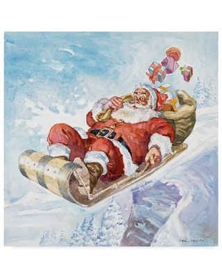 """'Santas New Sleigh' Oil Painting Print on Wrapped Canvas Trademark Fine Art Size: 18"""" H x 18"""" W x 2"""" D"""