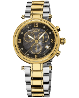 Burgi Women's Mother of Pearl Dial Chronograph Stainless Steel Two-Tone Bracelet Watch (Two-tone)