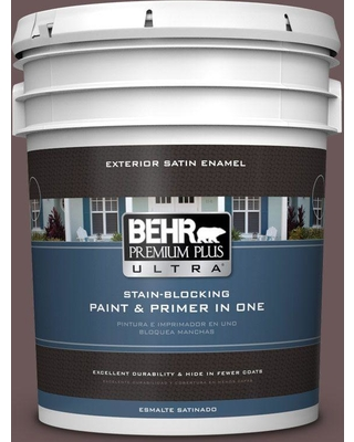 BEHR ULTRA 5 gal. #N120-7 Grand Plum Satin Enamel Exterior Paint and Primer in One