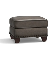 Irving Leather Storage Ottoman, Bronze Nailheads, Polyester Wrapped Cushions, Leather Burnished Wolf Gray
