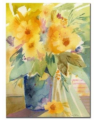 """Charlton Home 'Yellow' Framed Painting Print on Wrapped Canvas CHRH7149 Size: 47"""" H x 35"""" W x 2"""" D"""