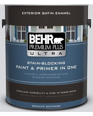 BEHR Premium Plus Ultra 1 gal. #MQ3-25 Gray Shimmer Satin Enamel Exterior Paint and Primer in One